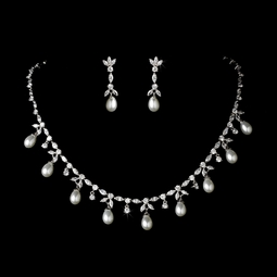 Elegant Cubic Zirconia and Pearl Designer Jewelry Set - SALE!!