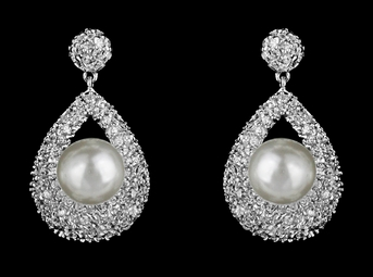 Elegant CZ and pearl wedding earrings