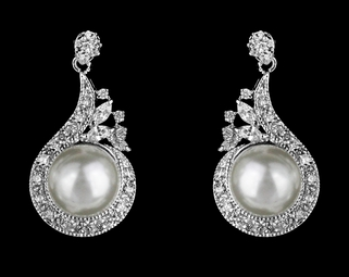 Elegant CZ off white pearl bridal earrings.