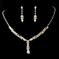 Elegant drop gold rhinestone Necklace Set - SALE