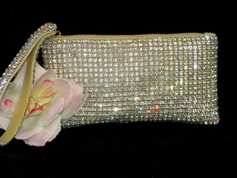 Elegant Gold Swarovski crystal wristlet purse - Sale!!