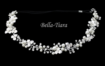 Elegant ivory pearl crystal hair vine stretch headband - SPECIAL
