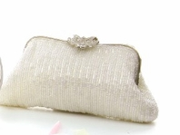 Elegant Light Ivory Beaded Bridal Purse - FINAL SALE!!