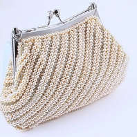 Elegant Light Ivory Pearl Wedding Purse Clearance One Left