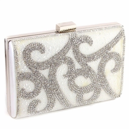 Elegant light ivory rhinestone swirl satin evening purse - SALE