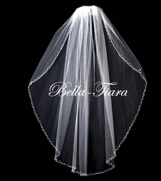 Elegant pearl crystal beaded wedding veil - SALE