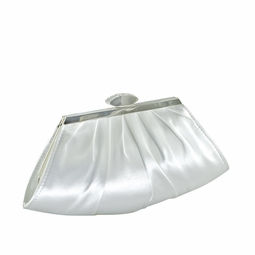 Elegant rhinestone clasp white or ivory satin bridal purse - SALE!!