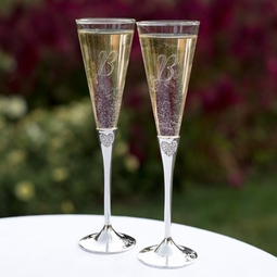 Elegant Rhinestone Heart wedding Flutes
