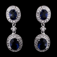 Elegant sapphire blue cz bridesmaids earrings - SPECIAL