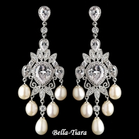 Royal Collection - Silver CZ Crystal & Freshwater Pearl Chandelier Earrings