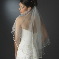 Elegant two tier crystal beaded edge bridal veil - SALE