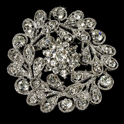 Elegant Vintage Crystal Bridal or Gown Brooch - SALE
