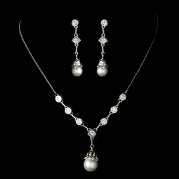 Elegant vintage CZ pearl necklace set -- SPECIAL