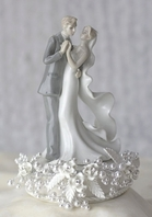 Elegant vintage rose pearl first dance wedding cake topper  - sale