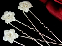 Elegant White rose Porcelain Hair Pins - Set of 3