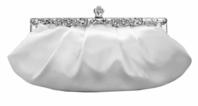 elegant white vintage satin bridal wedding purse