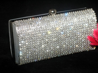 Elenor - Glamorous silver rhinestone crystal evening bag - SPECIAL