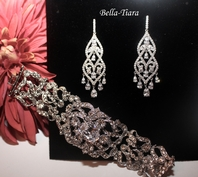 Elima - Gorgeous vintage CZ chandelier bridal earrings and bracelet  set -- SPECIAL