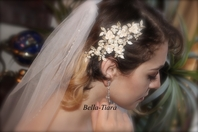 Embrace - Romantic ivory roses crystal wedding hair comb - SALE
