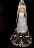 Emiliana - FREE BLUSHER - Dramatic royal length beaded cathedral wedding veil - SPECIAL