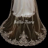 Emiliana -  Royal beaded cathedral wedding veil - Free blusher  - 20% OFF use code 20veil