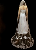 Emiliana - Our bestseller - Dramatic royal length cathedral veil and blusher for rent
