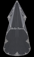 Envogue designer beaded scroll mantilla veil - SALE