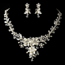 Esme - Off white Freshwater Pearl, Crystal & Rhinestone Necklace & Earrings Jewelry - SALE