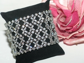 Esperanza - High end gorgeous CZ wide wedding bracelet - Amazingly priced!! sold out