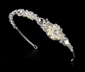 Exquisite Elegance crystal Freshwater Pearl Wedding Headband-  SALE