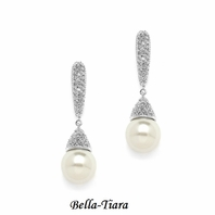 NEW! Exquisite Ivory Pearl Drop Designer Earrings with Pave CZ