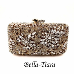 Extravagant Swarovski crystal gold clutch purse - SALE