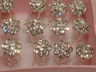 Fiore - Precious Floral rhinestone Hair Pins (set of 12)