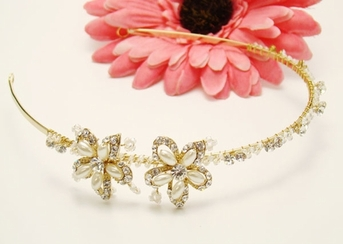 Francesca-Beautiful Ivory Gold Headband - SPECIAL ONE LEFT