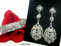 NINA- Luxurious rhinestone drop earrings and bracelet set