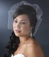 French Bird Cage Veiling with scattered Swarovski Rhinestones - Sale