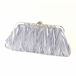 Frida - Silver Satin Evening Bag Vintage Frame  SALE