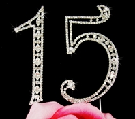 Full Crystal 15 Birthday Quincea�era Cake topper - SALE!!