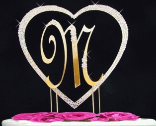 Full Crystal Heart with Large Monogram