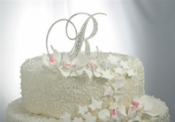 "Full Crystal 6"" Large Custom Font Monogram Cake Topper"