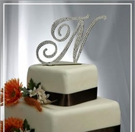 Full Large Crystal Metal Monogram Cake Topper-<i>Custom Fonts</i>