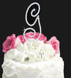Full Large Crystal Rennaissance Monogram Cake Topper