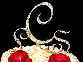 Full w/ Swarovski Crystal Monogram Cake Topper