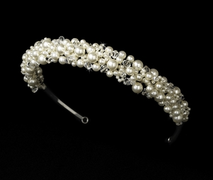 Giana- Elegant ivory pearl and crystal bridal headband