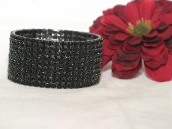 Glamorous Black Crystal Rhinestone Stretch Bracelet
