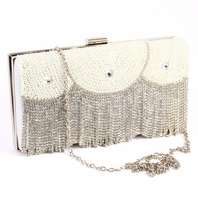 Glamorous off white satin with crystal bridal clutch purse - SPECIAL