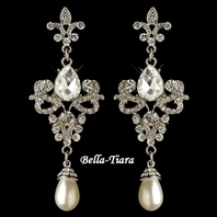 Glamorous Silver Rhinestone & White Pearl Earrings