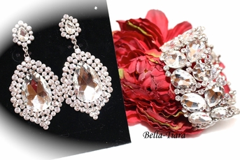 Glamorous Swarovski crystal wedding earrings and bracelet set - SPECIAL one left