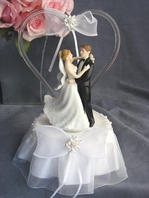 Glass Heart Dancing Couple Cake Topper