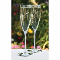 Glittering glass beads personalized wedding flutes - SALE